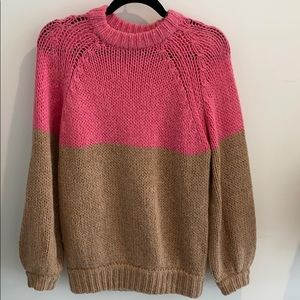 Tan and Pink Knit Sweater